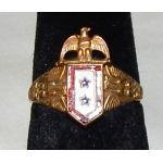 WWI Two Star Son In Service 12K Gold Ring