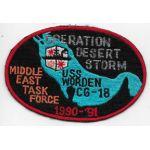 1990-91 CG-18 USS Worden Operation Desert Storm Tour Patch