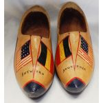 WWII Antwerp Belgium V For Victory Painted Wooden Shoes