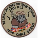 Operation Iraqi Freedom 2nd Platoon 807th Signal CABLE DAWGS Theatre Made Patch