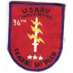 Vietnam 36th Battalion USARV Individual Training Battalion  Pocket Patch